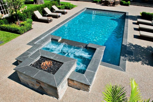 Inground Swimming Pool with Fire Pit